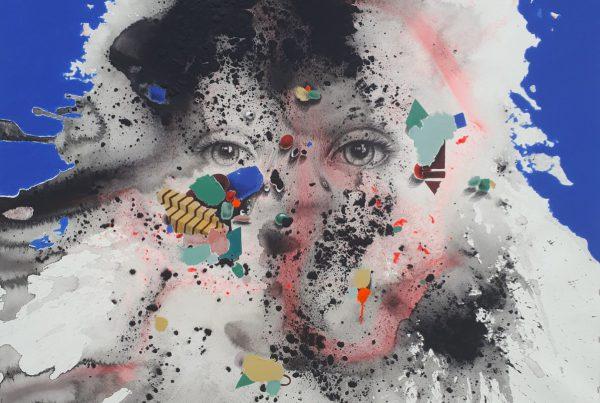 pintura pirmer plano ojos de mujer
