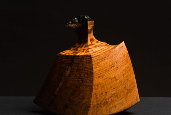 pieza de madera con forma suave guillermo ocio fondo oscuro