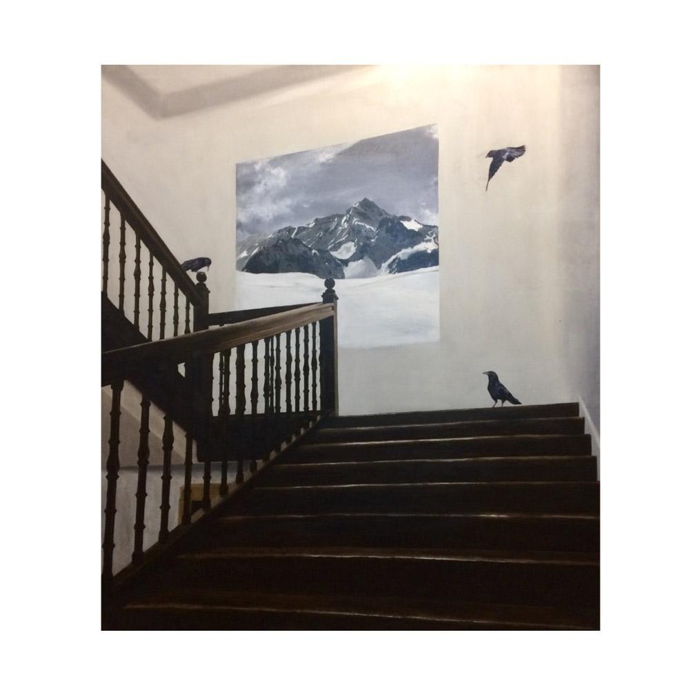 pintura de faustino con cuervos y escalera
